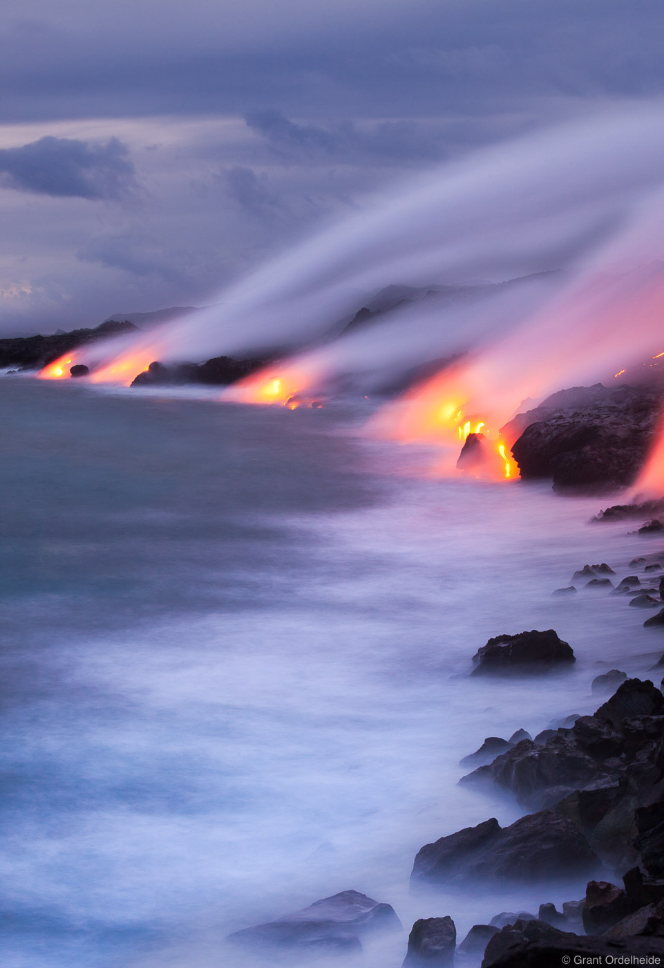lava, dusk , big island, hawaii, flows, pacific ocean, puu oo, vent, , photo