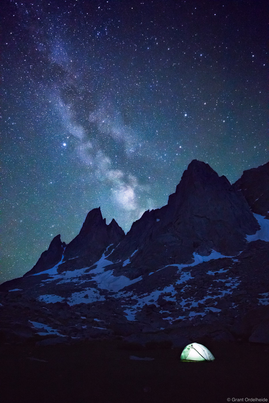 Milky Way over Warbonnet and Warrior peaks in the Cirque of the Towers.