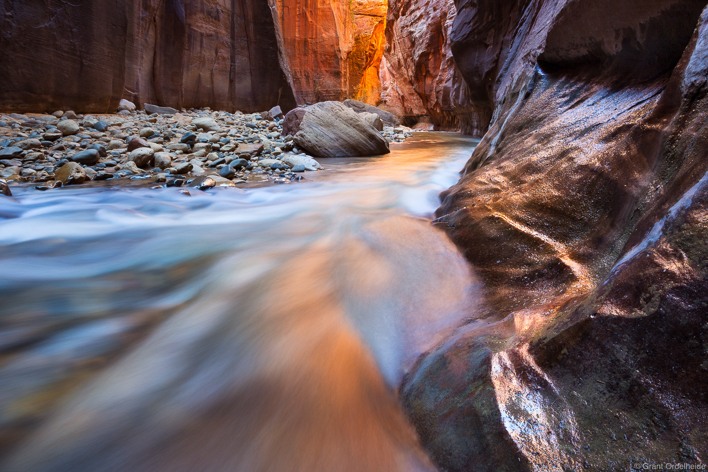 The Virgin River flows through The Narrows in Zion Canyon.