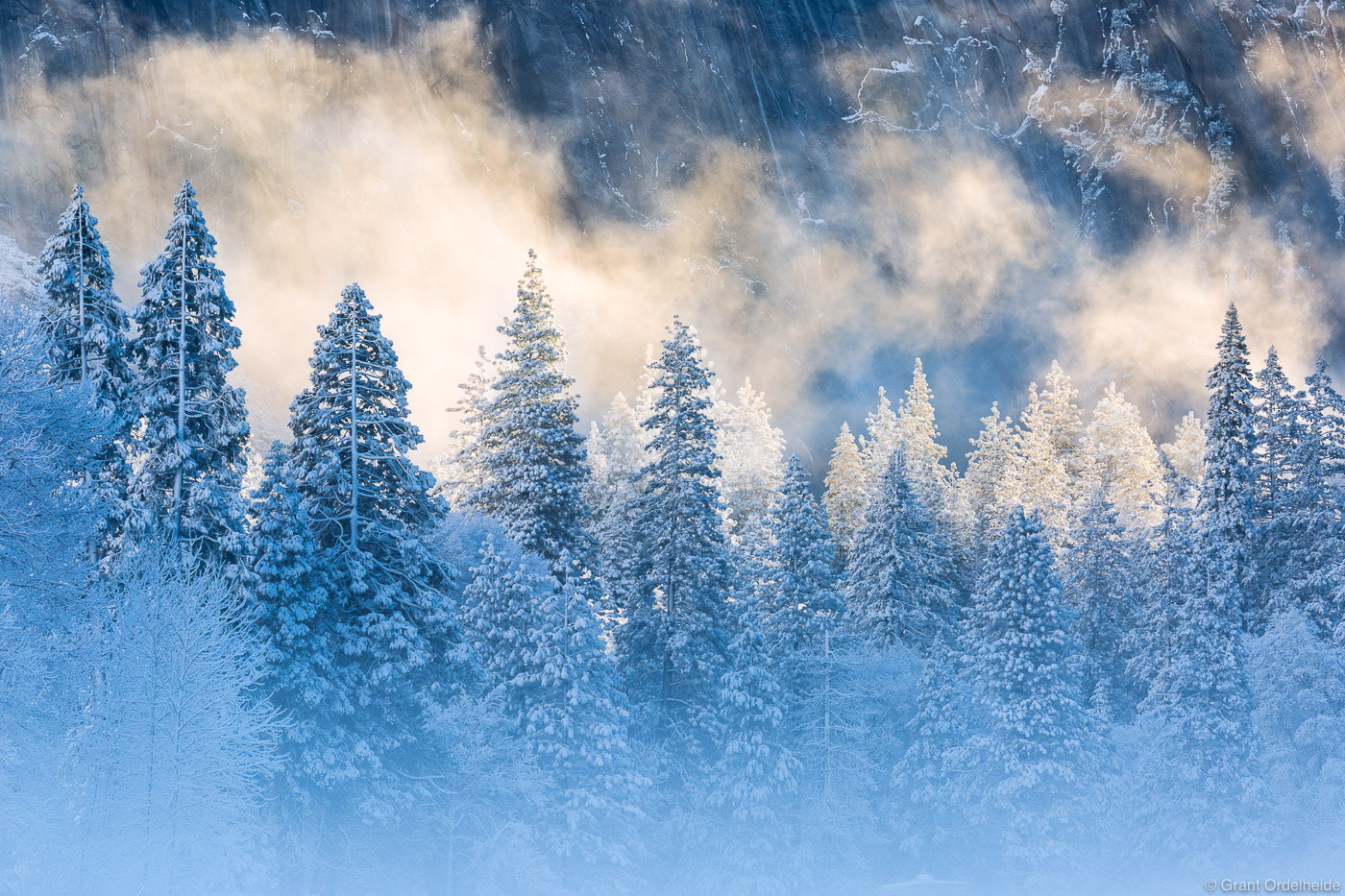Early morning mist and light after a snowstorm in Yosemite Valley.