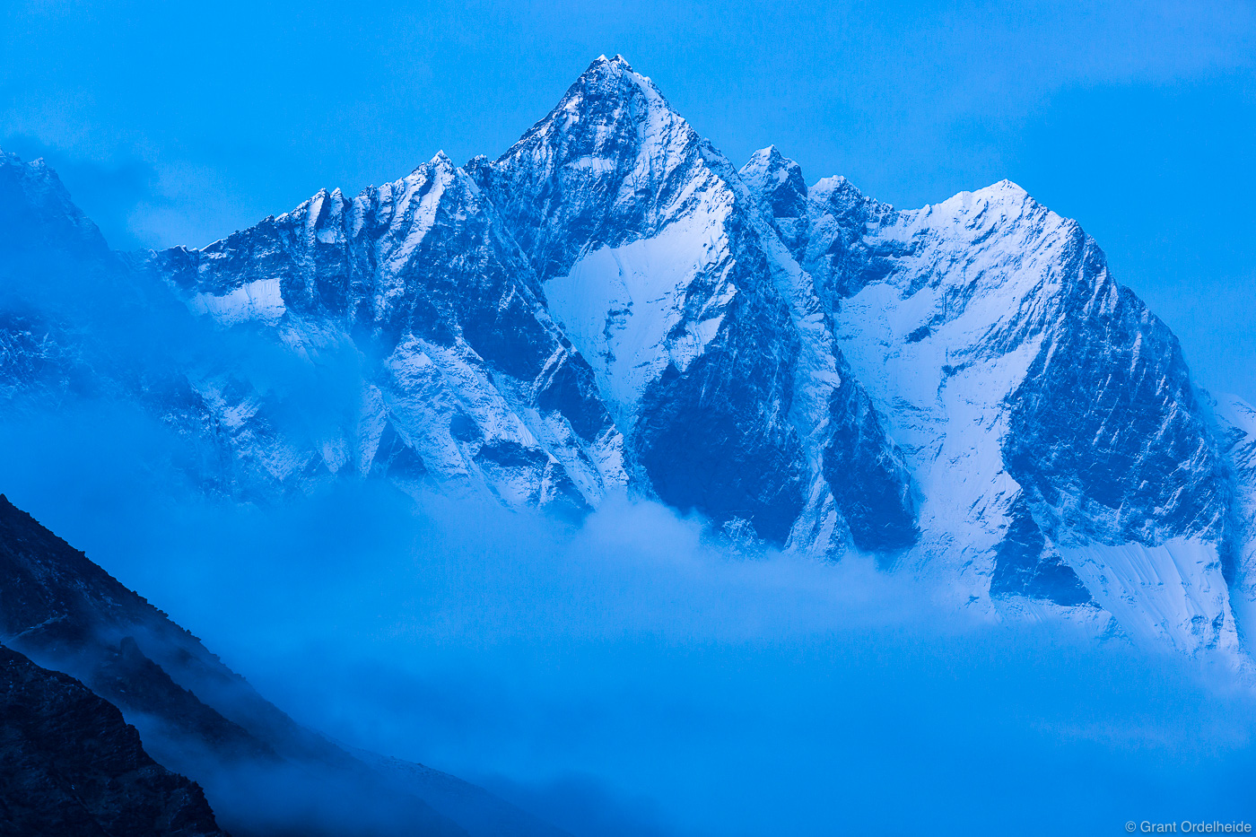 Lhoste (27,940'), the fourth highest mountain in the world as seen from the village of Dingboche.