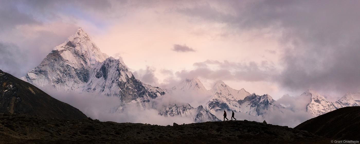 ama dablam, hikers, sagarmatha, national, park, himalaya, nepal, pair, trekkers, everest, region, photo