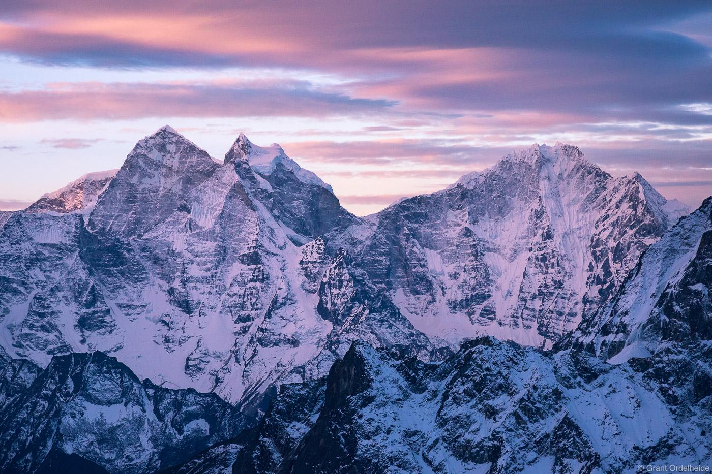 Kangtega and Thamserku as seen from high on Lobuche East at sunrise in the Everest Region of Nepal.