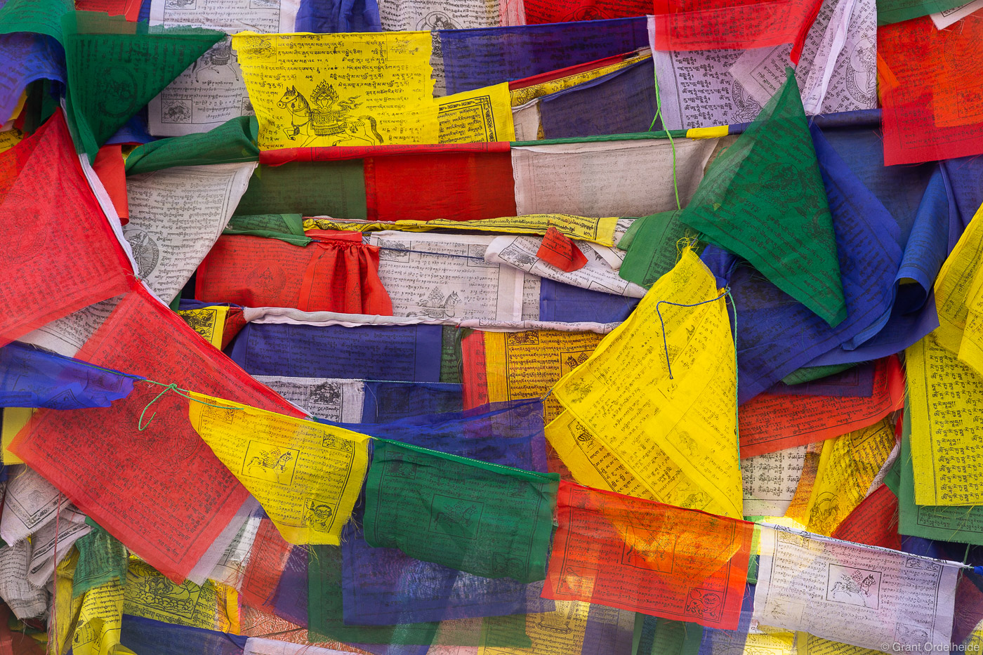 A pattern of prayer flags at Bodhnath Stupa in Katmandu Nepal.