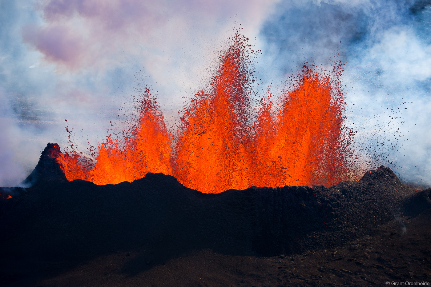A massive lava eruption from a fissure near the Bardarbunga volcano in Iceland's Holuhraun lava field.