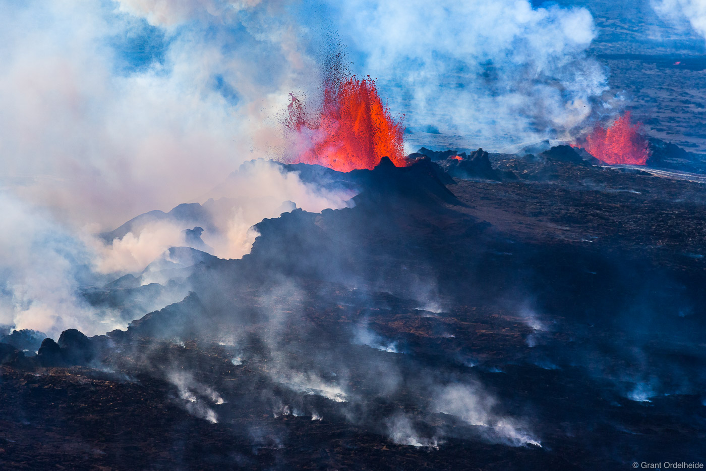 A lava eruption and steam from a fissure near the Bardarbunga volcano in Iceland's Holuhraun lava field.