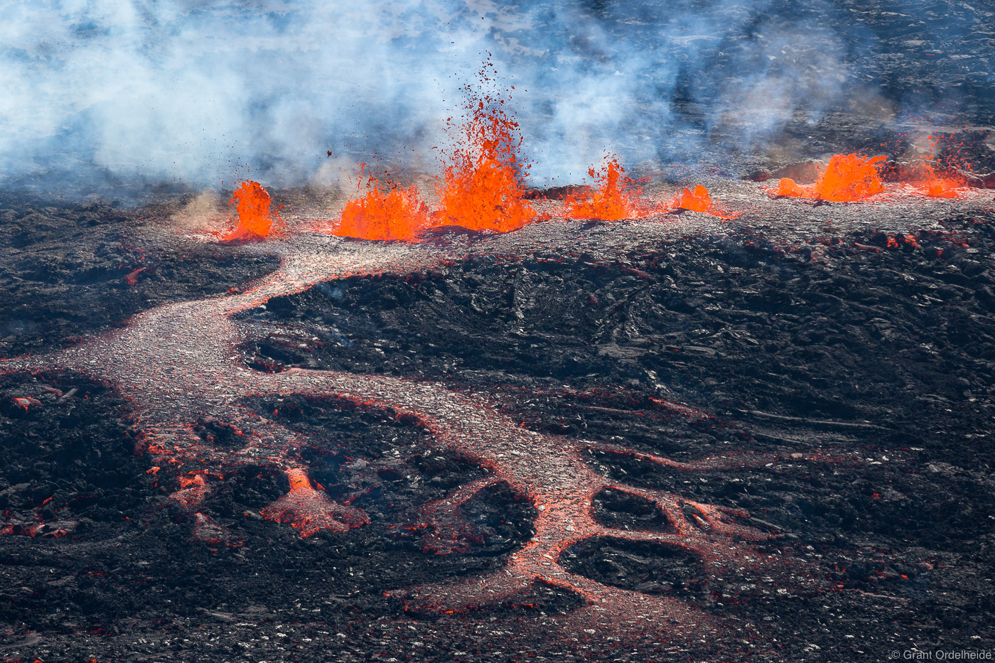 A lava eruption from a fissure near the Bardarbunga volcano in Iceland's Holuhraun lava field.