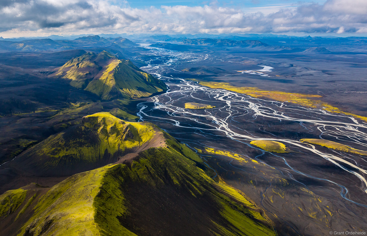 river, deltas, southern, iceland, aerial, view, winding, green, covered, mountains,, photo
