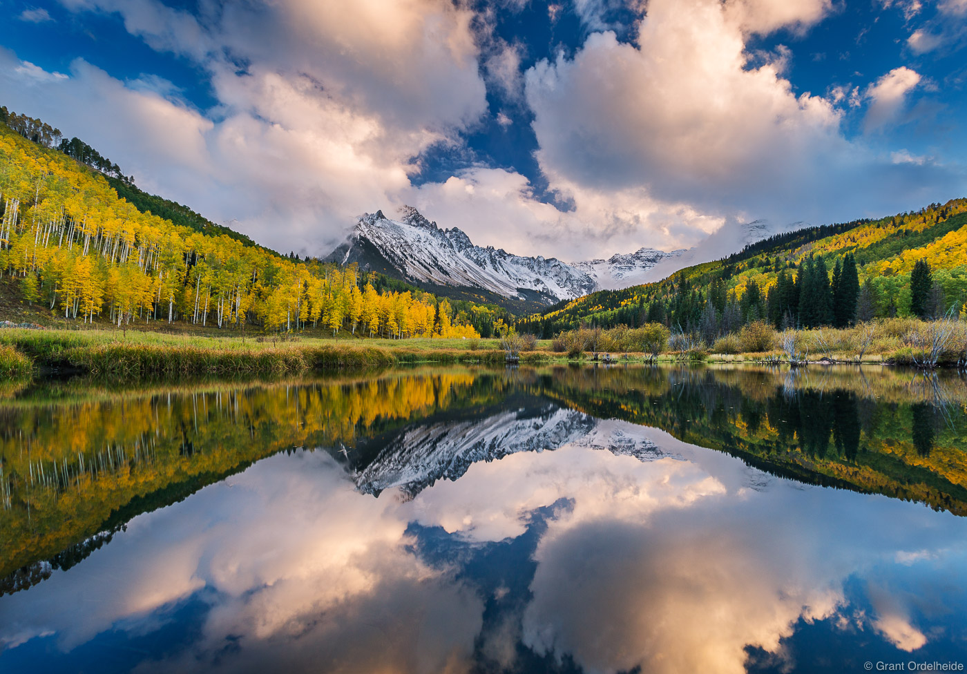ridgway, colorado, usa, autumn, reflection, mount, sneffels, stormy, skies, beaver, pond,