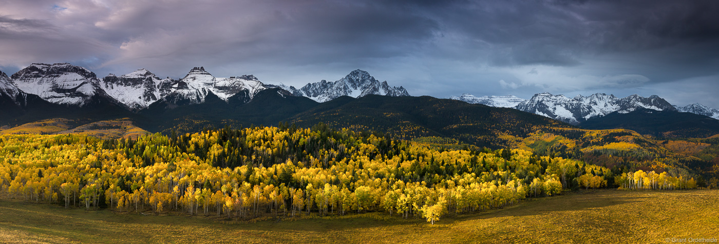 stormy, sunrise, sniffles, range, ridgway, colorado, usa, morning, golden, aspens,, photo