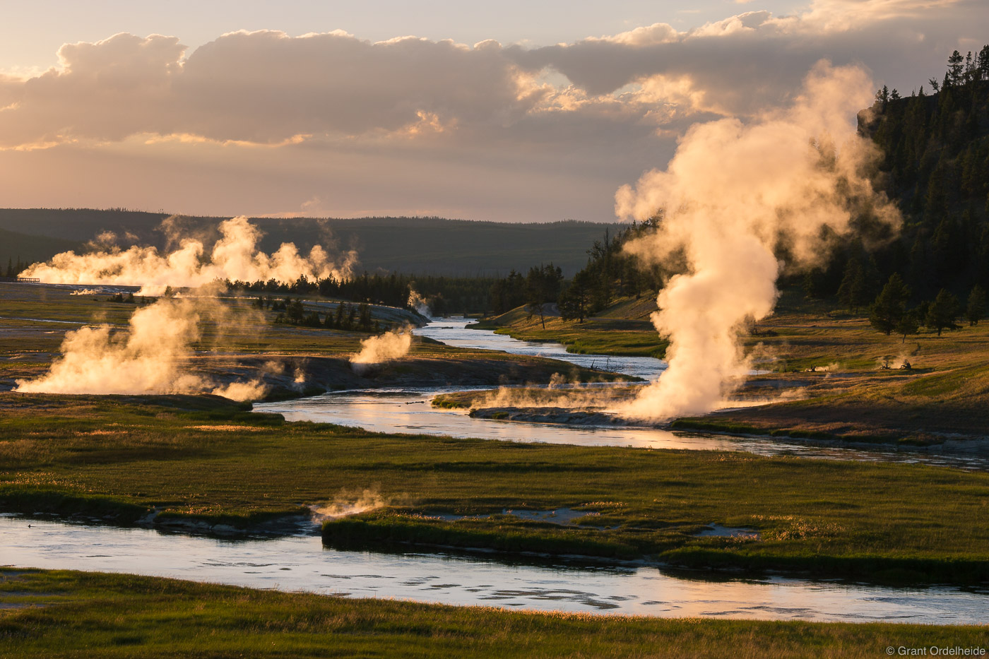 midway, geyser, basin, yellowstone, national, park, wyoming, usa, sunset, firehole, river, photo