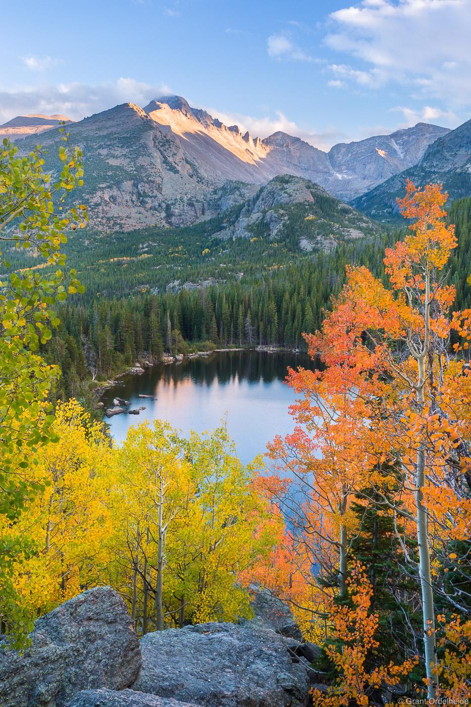 bear, lake, autumn, rocky, mountain, national, park, colorado, colored, aspens, longs, peak, bear, lake, photo