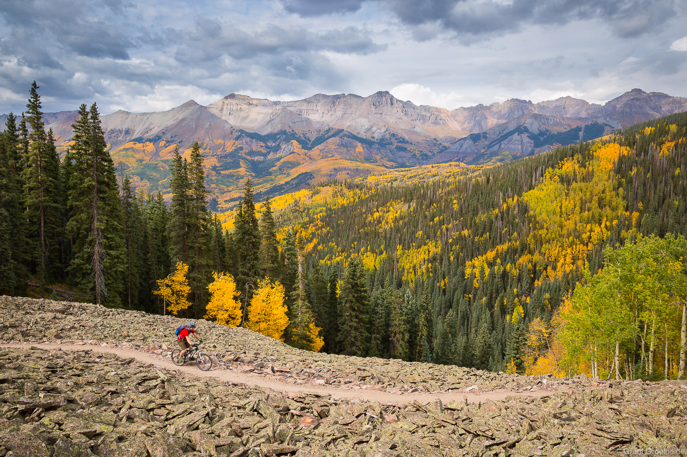 telluride, biking, colorado, usa, mountain, biker, trail, high, town, peak, fall, color, season, photo