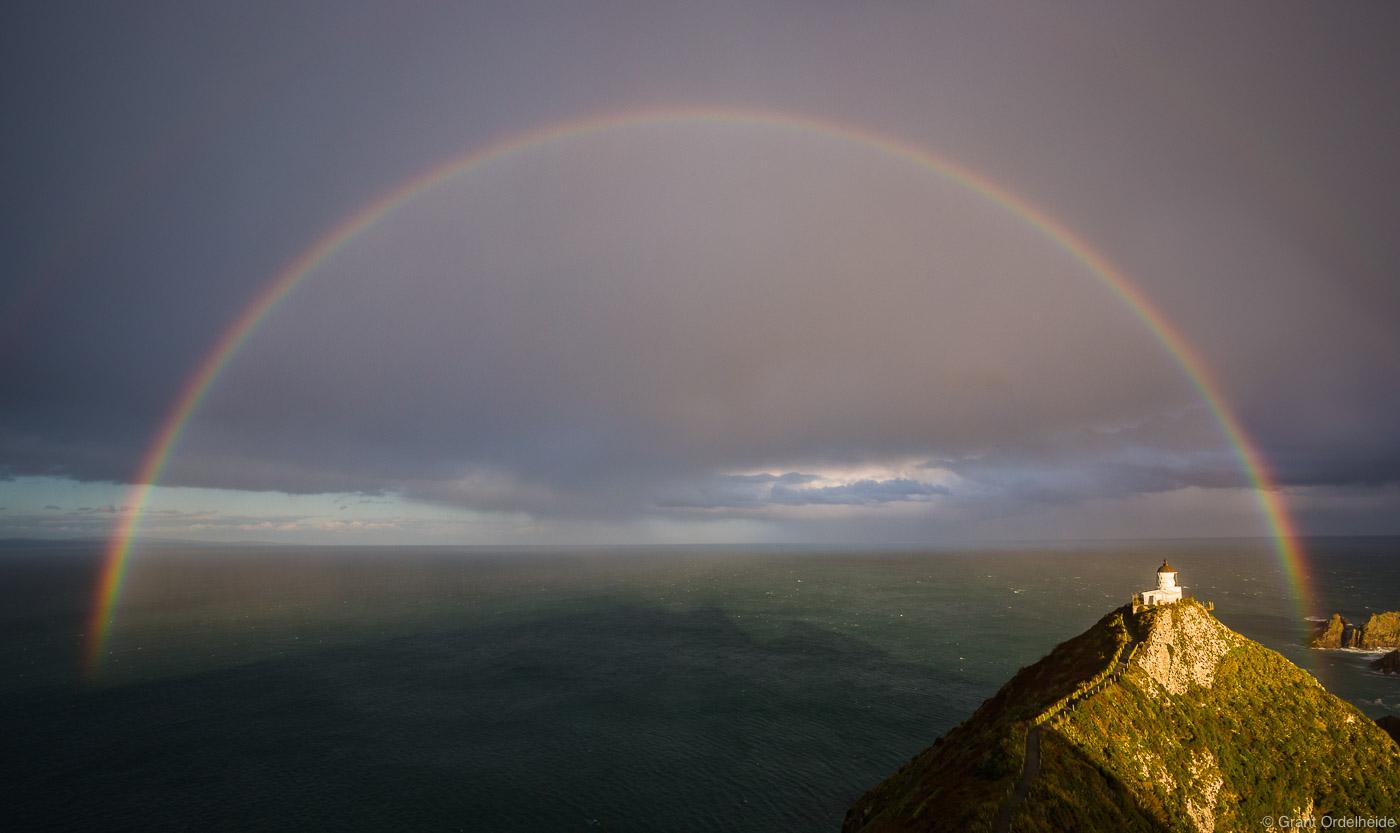 nugget, point, full, rainbow, otago, new, zealand, lighthouse, coast, south, island, photo