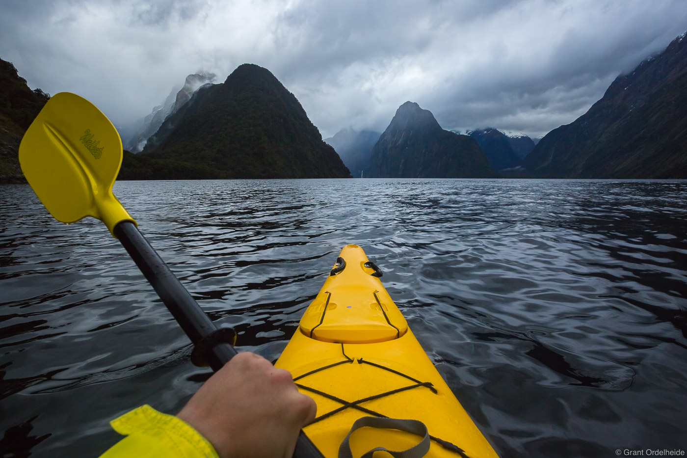 kayaking, milford, sound, fiordland, national, park, new, zealand, sea, iconic,, photo