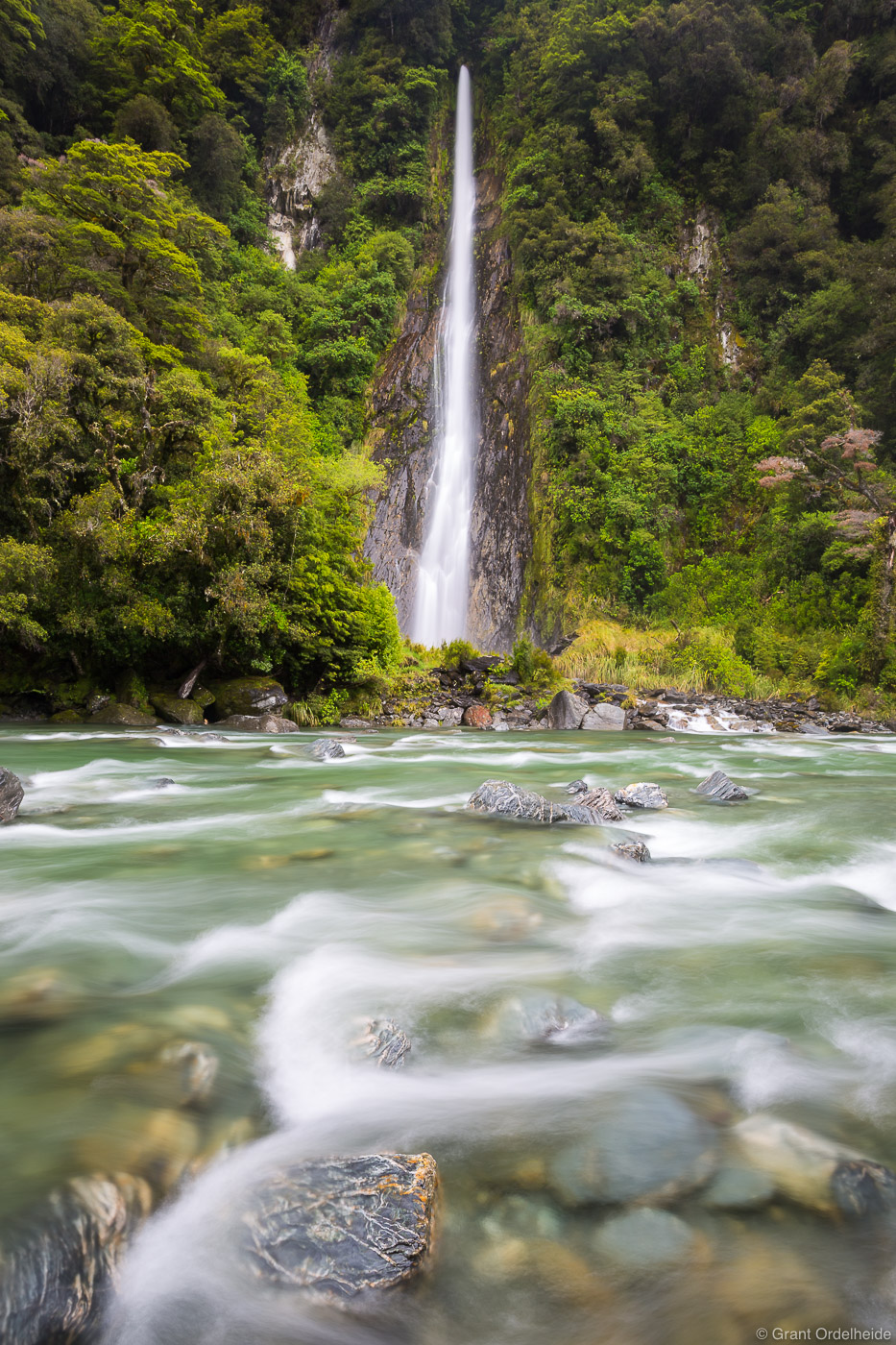 thunder, creek, falls, aspiring, national, park, new, zealand, haast, river, 