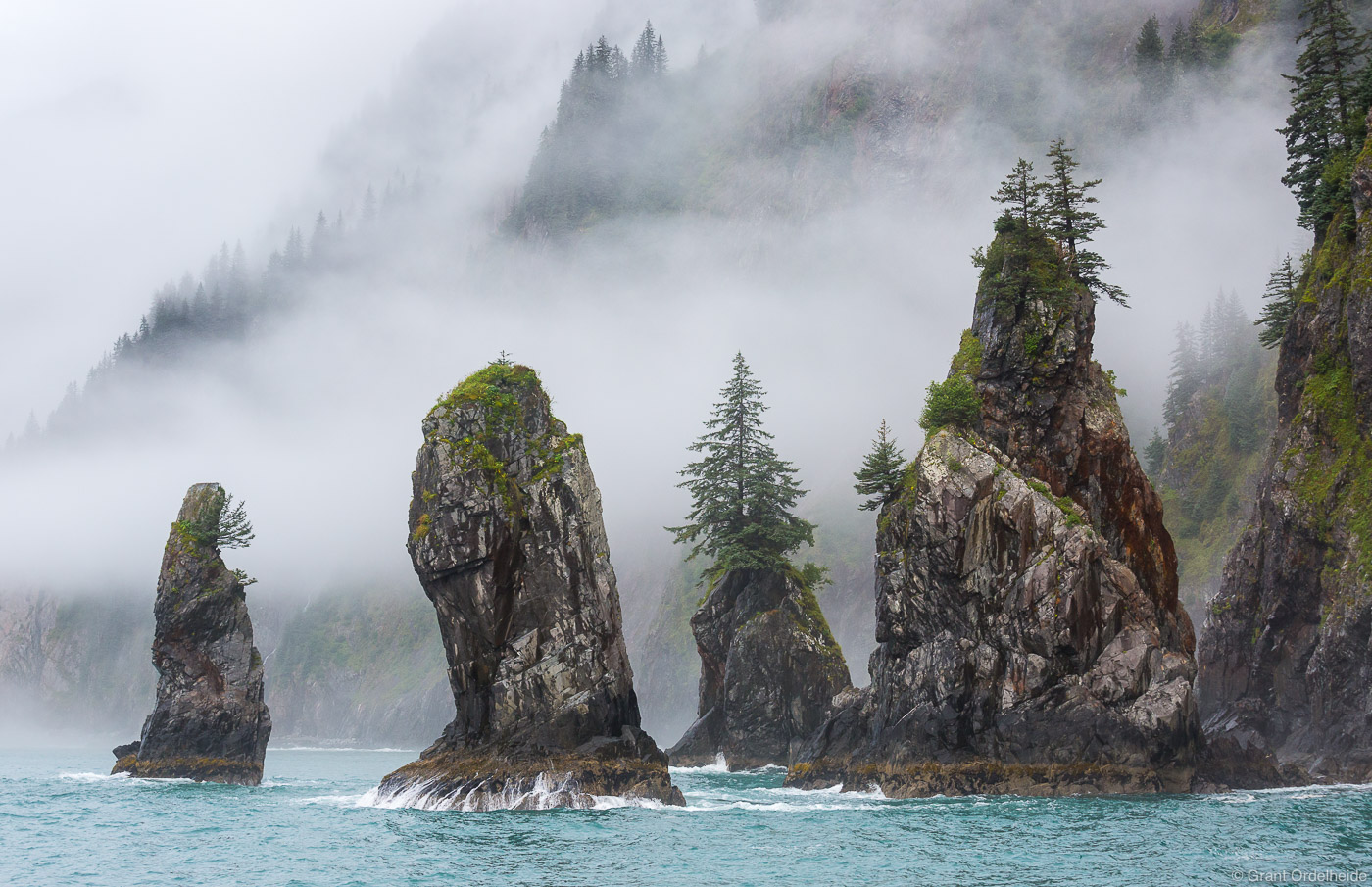 cove, spires, kenai, fjords, national, park, alaska, usa,, fog, seward, photo