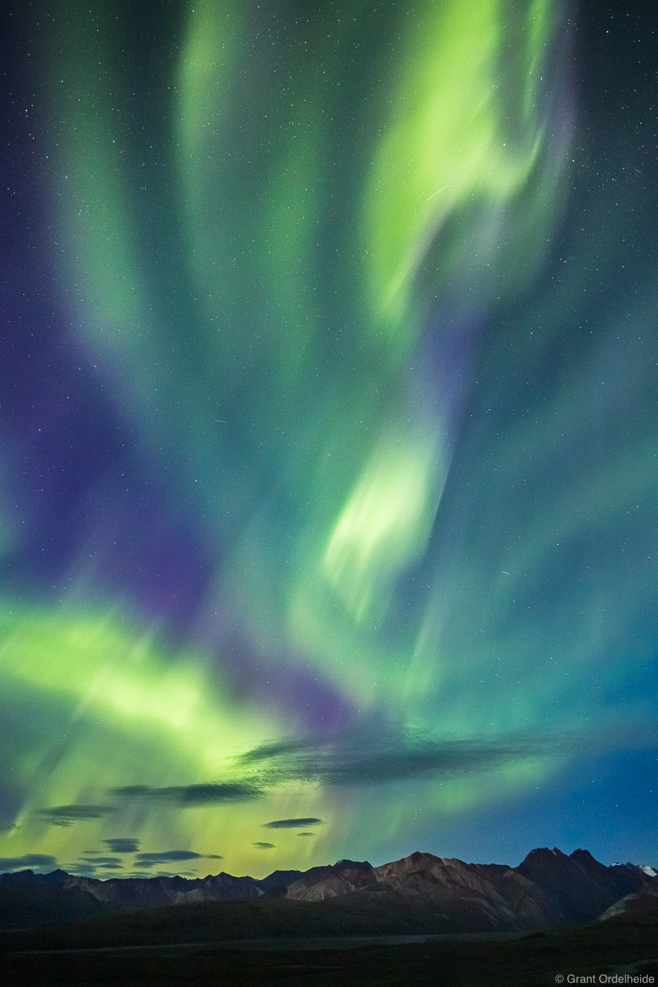 Aurora Borealis from Polychrome Pass in Denali National Park.