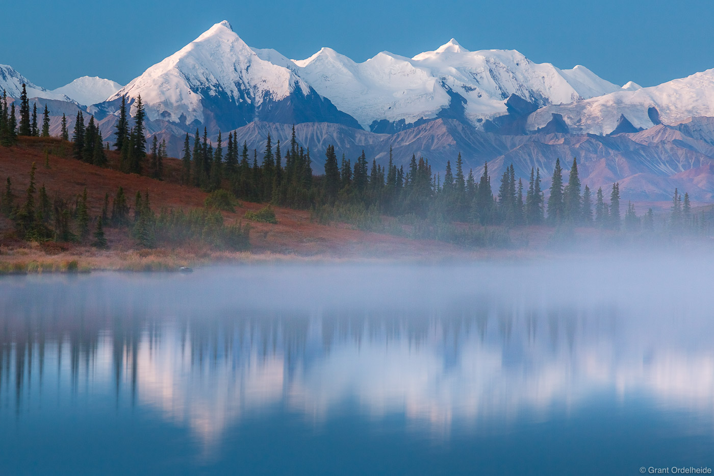 alaska, range, dawn, denali, national, park, usa, misty, wonder, lake,, photo