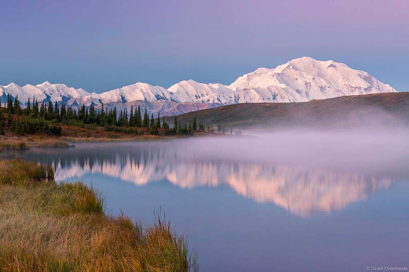 wonder, lake, denali, national, park, alaska, usa, mist, rises, dawn, photo