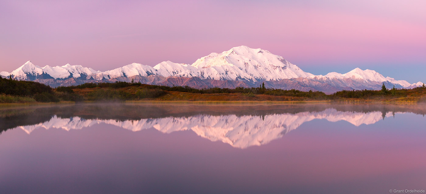 denali, panorama, national, park, alaska, usa, dawn, range, reflected, small, pond,, photo