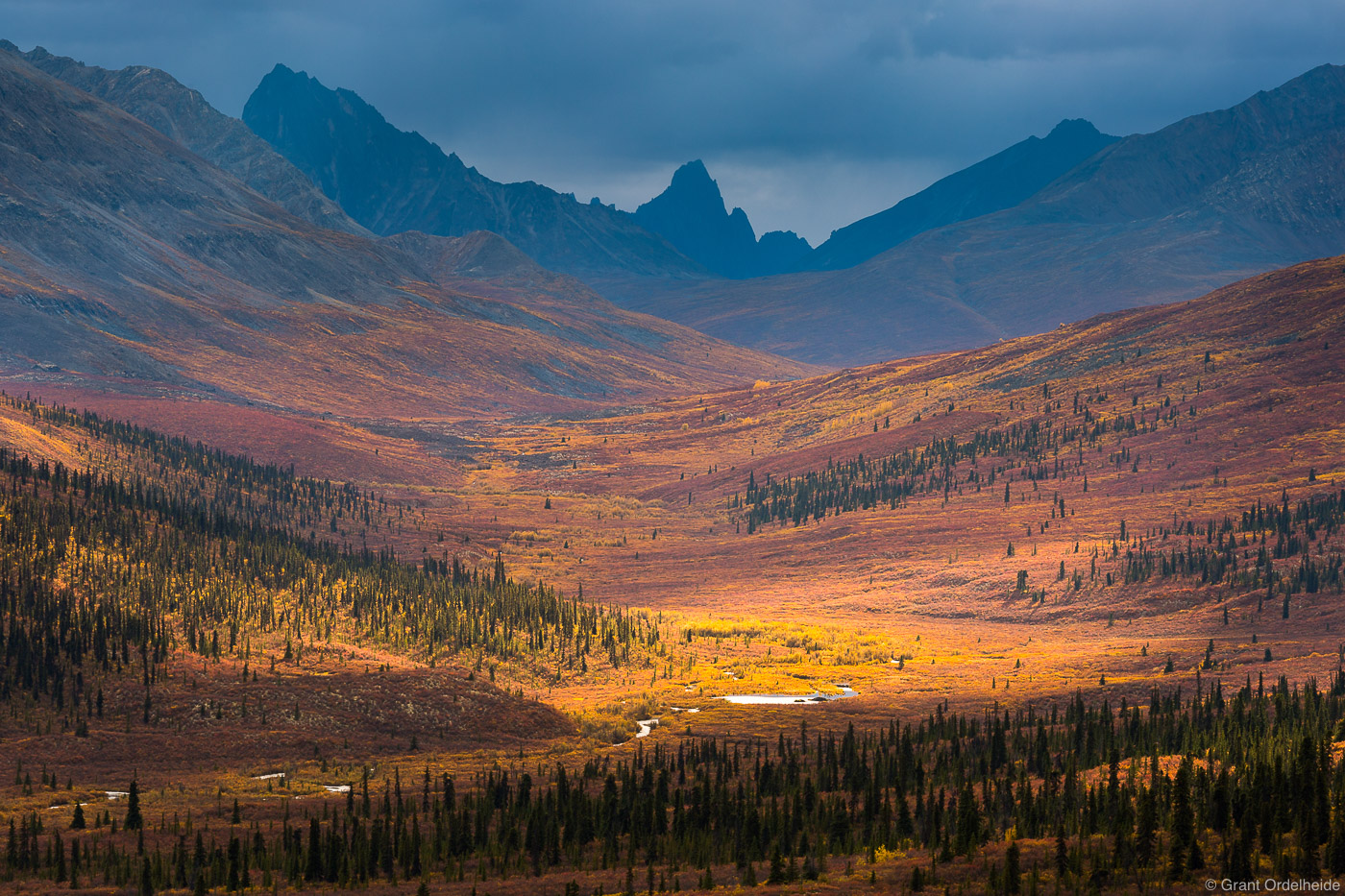 Tombstone Mountain and the autumn tundra as seen from the Dempster Highway in Tombstone Territorial Park.