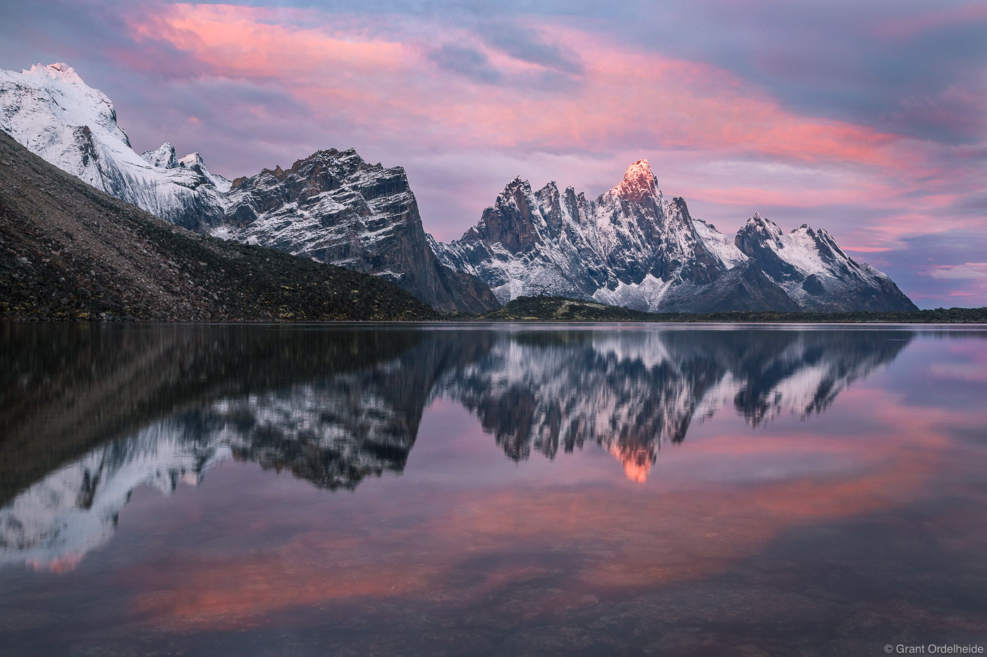 talus, lake, sunrise, tombstone, territorial, park, yukon, canada, snow, covered, peak, mountain, , photo