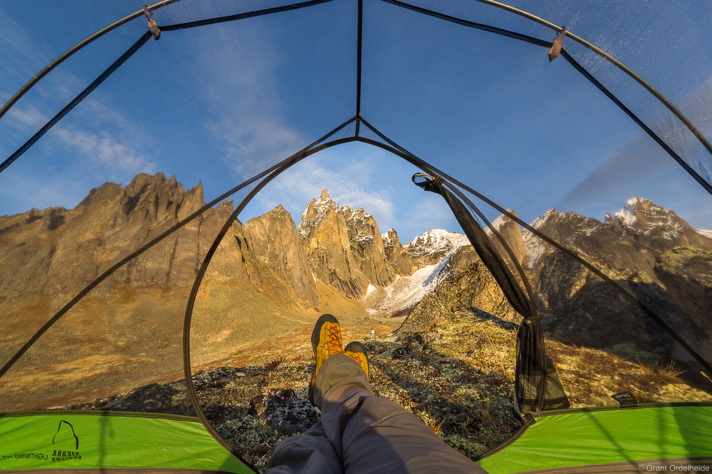 room, view, tombstone, territorial, park, yukon, canada, backpacker, enjoying, mount, monolith, tent, photo