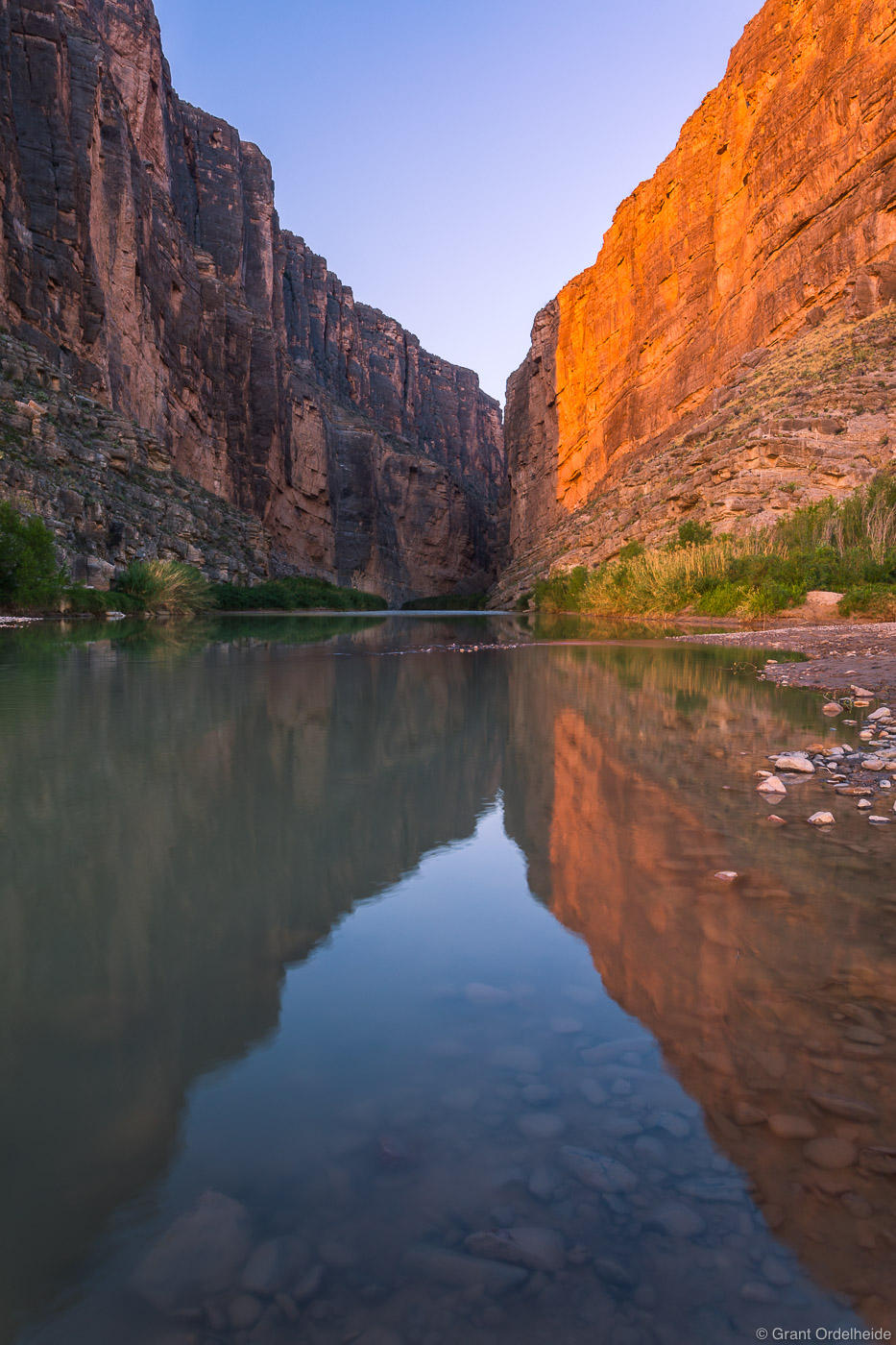 Sunrise over the Rio Grande river and the entrance to the Santa Elena Canyon in Big Bend National Park. This river and canyon...