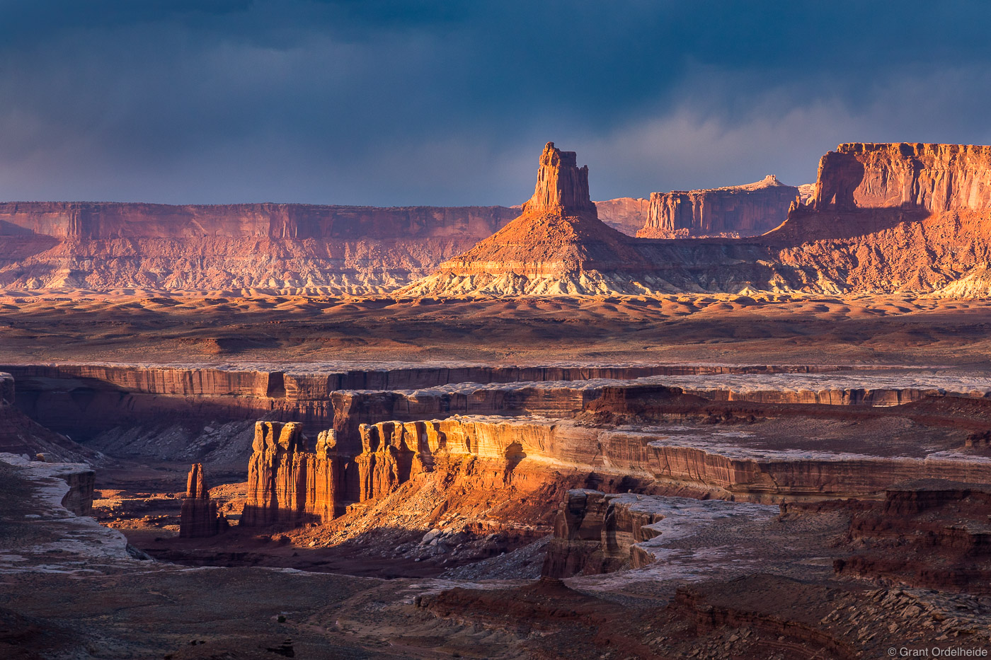 Soda Springs Basin and Candlestick Tower seen from the White Rim Trail in Canyonlands National Park.