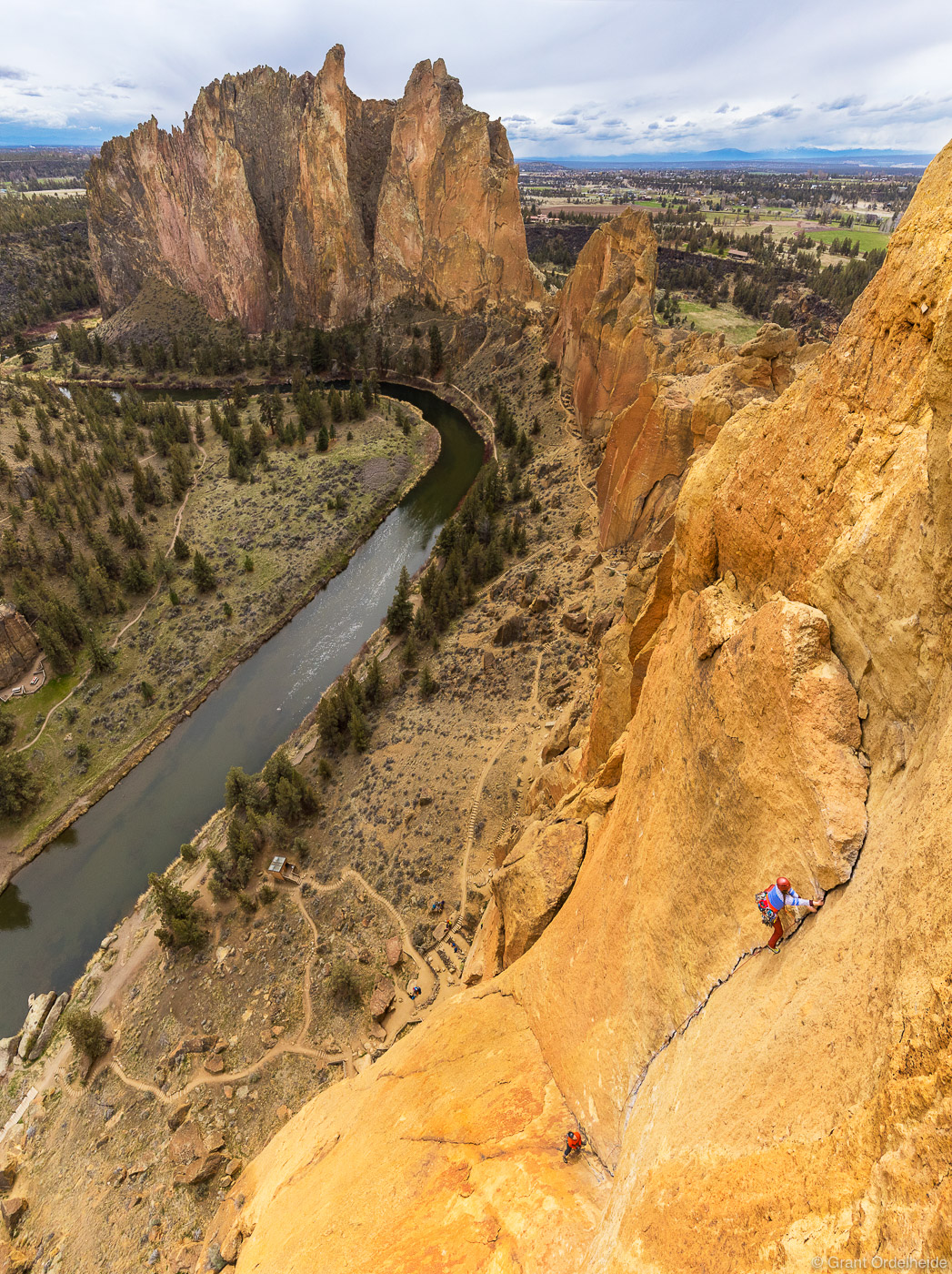 A climber making her way up the last pitch of Zion, a popular multipitch route at Oregon's Smith Rock State Park.