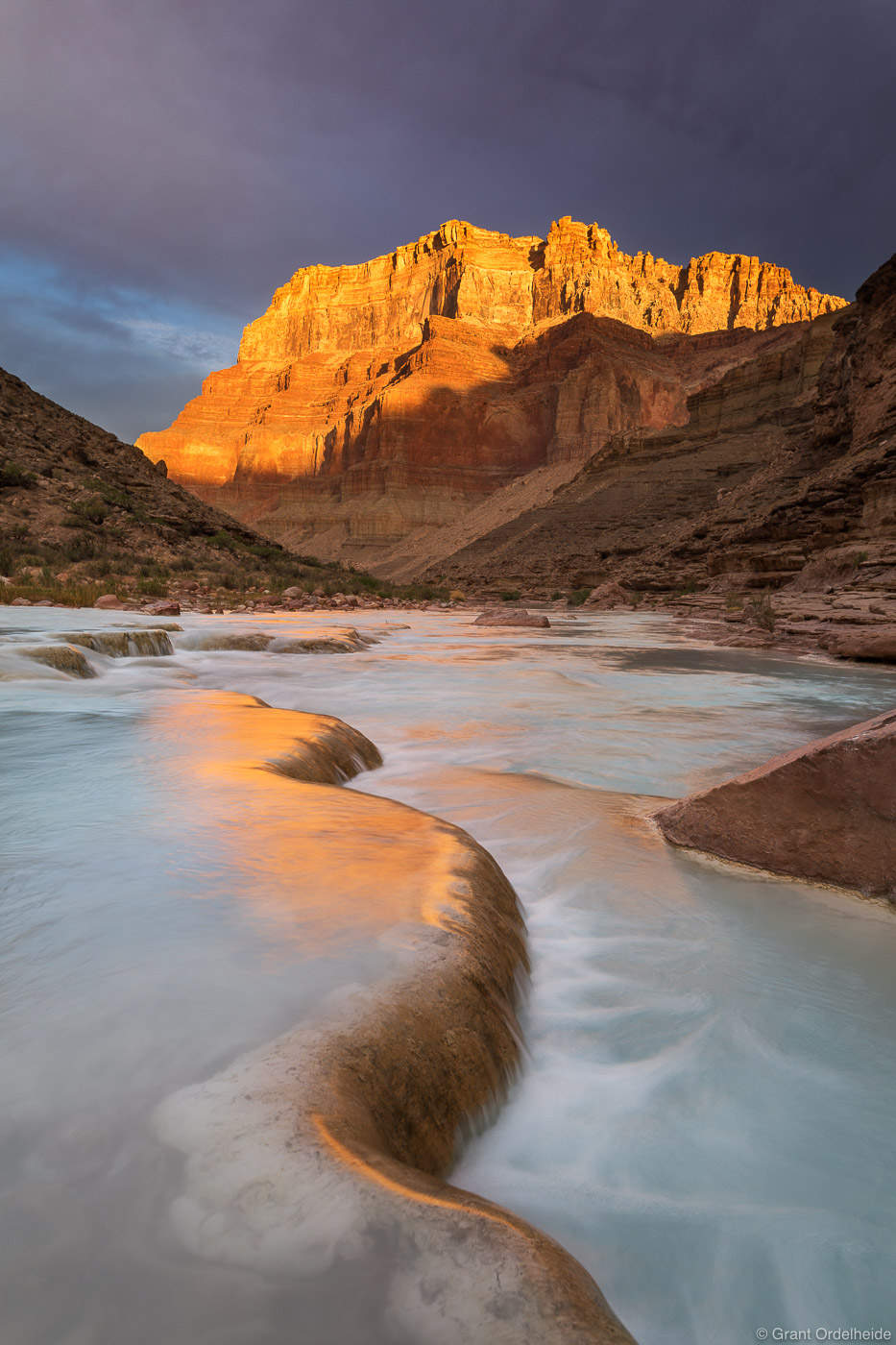 Sunrise over travertine formations along the Little Colorado River, a tributary of the Colorado at the bottom of the Grand Canyon...