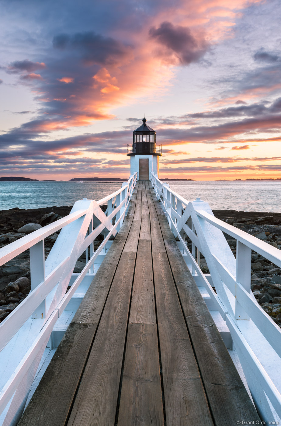 Sunset over the beautiful Marshall Point Lighthouse near Port Clyde, Maine.