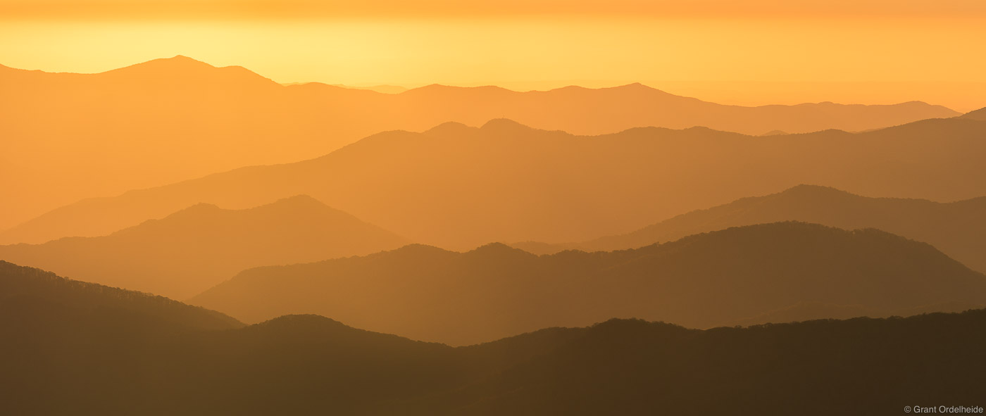 clingmans dome, great smoky mountains, national, park, tennessee, sunset, mountain, ridges, , photo