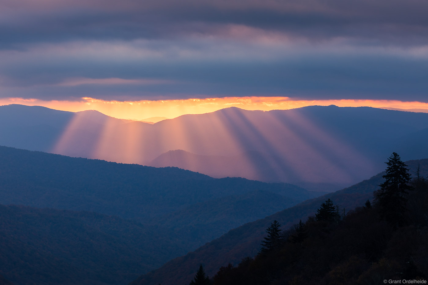 great, smoky, godbeams, mountains, national park, Tennessee, sunrise, beams, border, north carolina, , photo