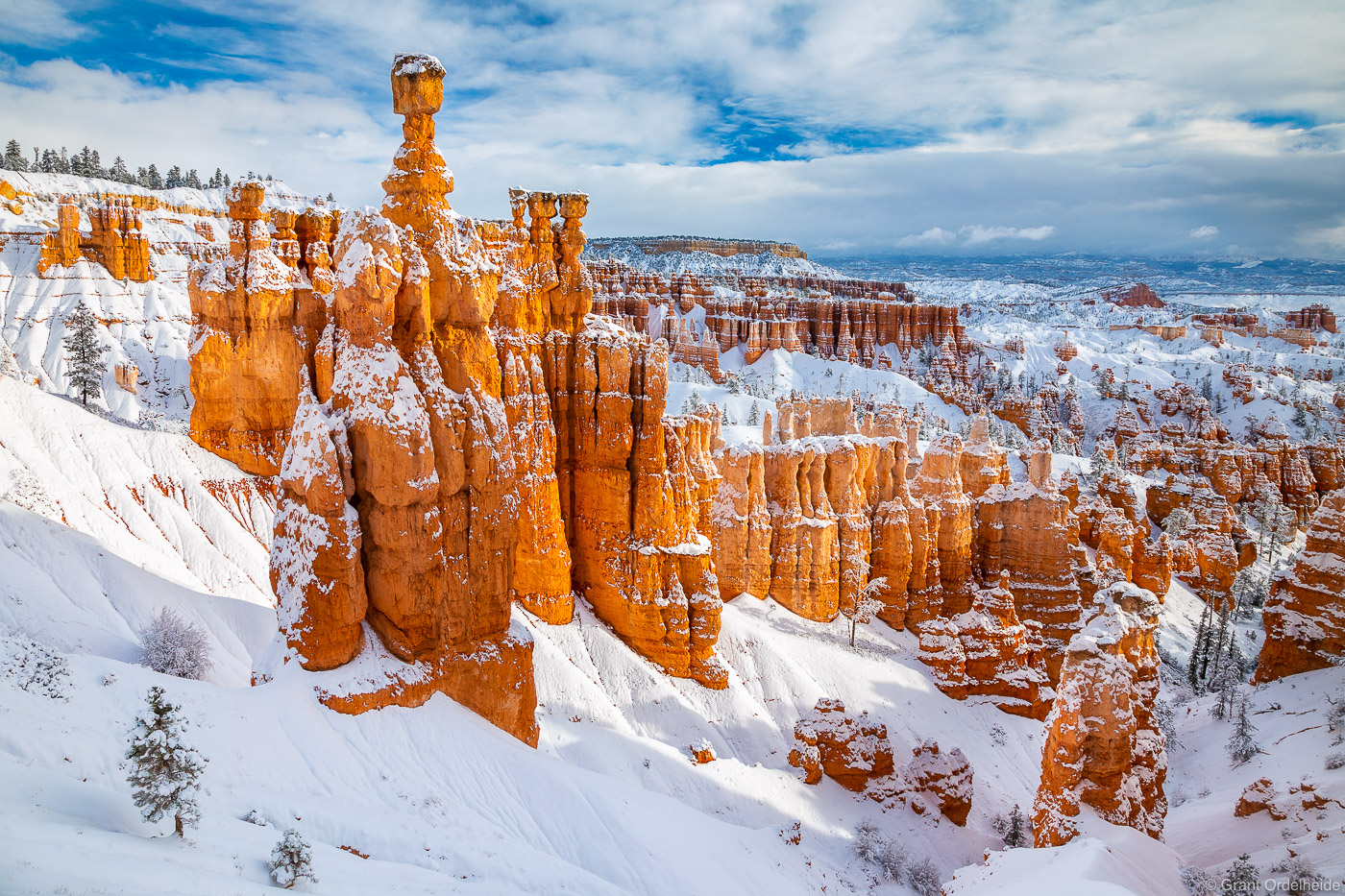 Morning light after a fresh snow storm in Utah's Bryce Canyon National Park.