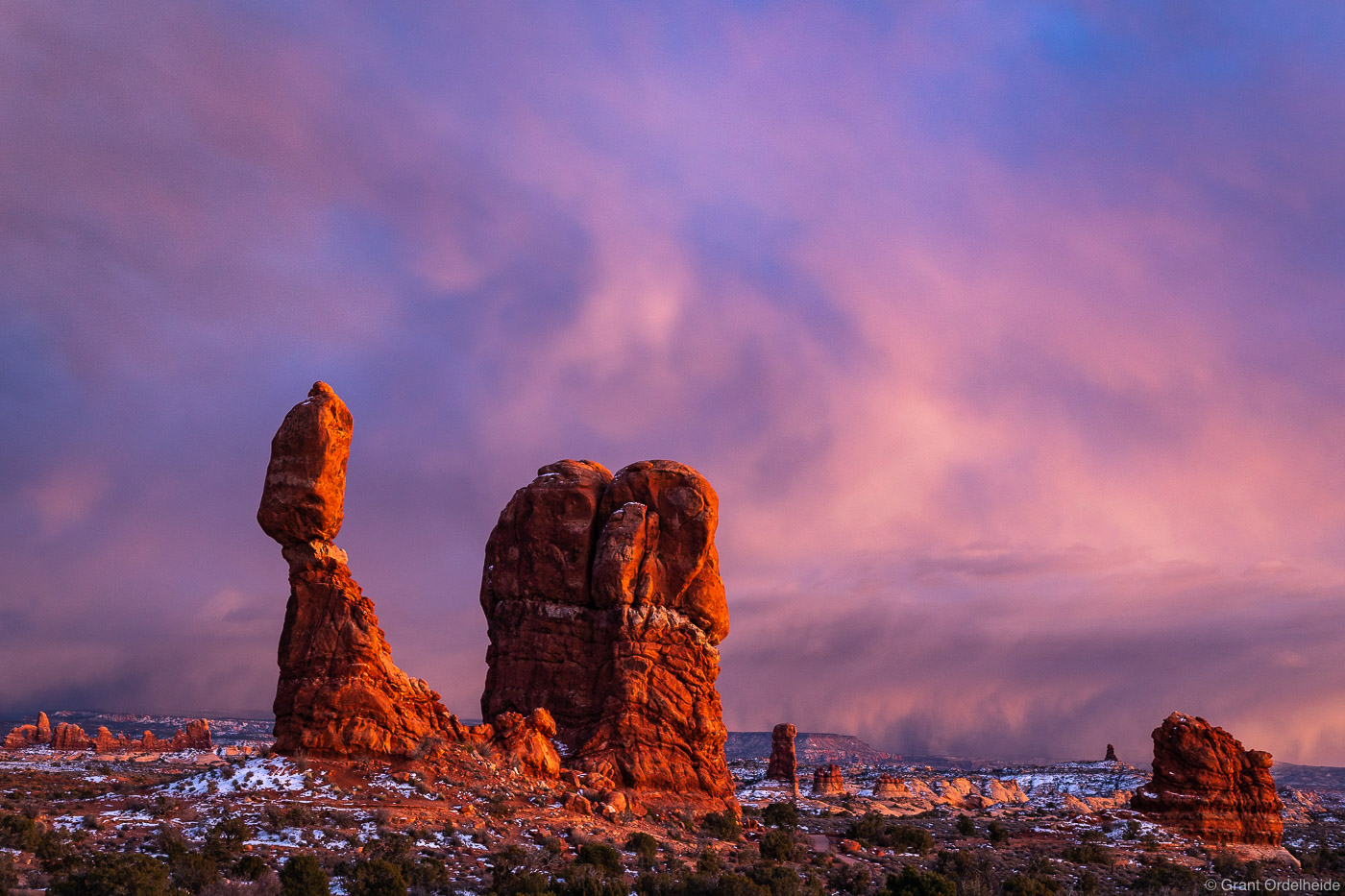 A winter storm over Arches National Park near Moab, Utah.