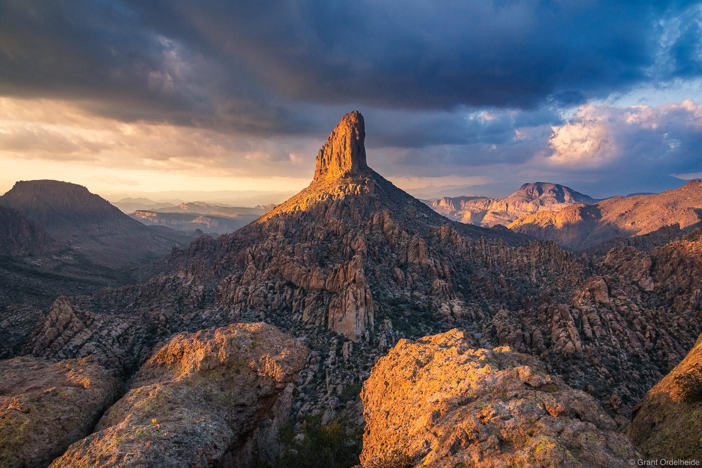 Weavers Needle in the Superstition Mountains near Phoenix, Arizona.