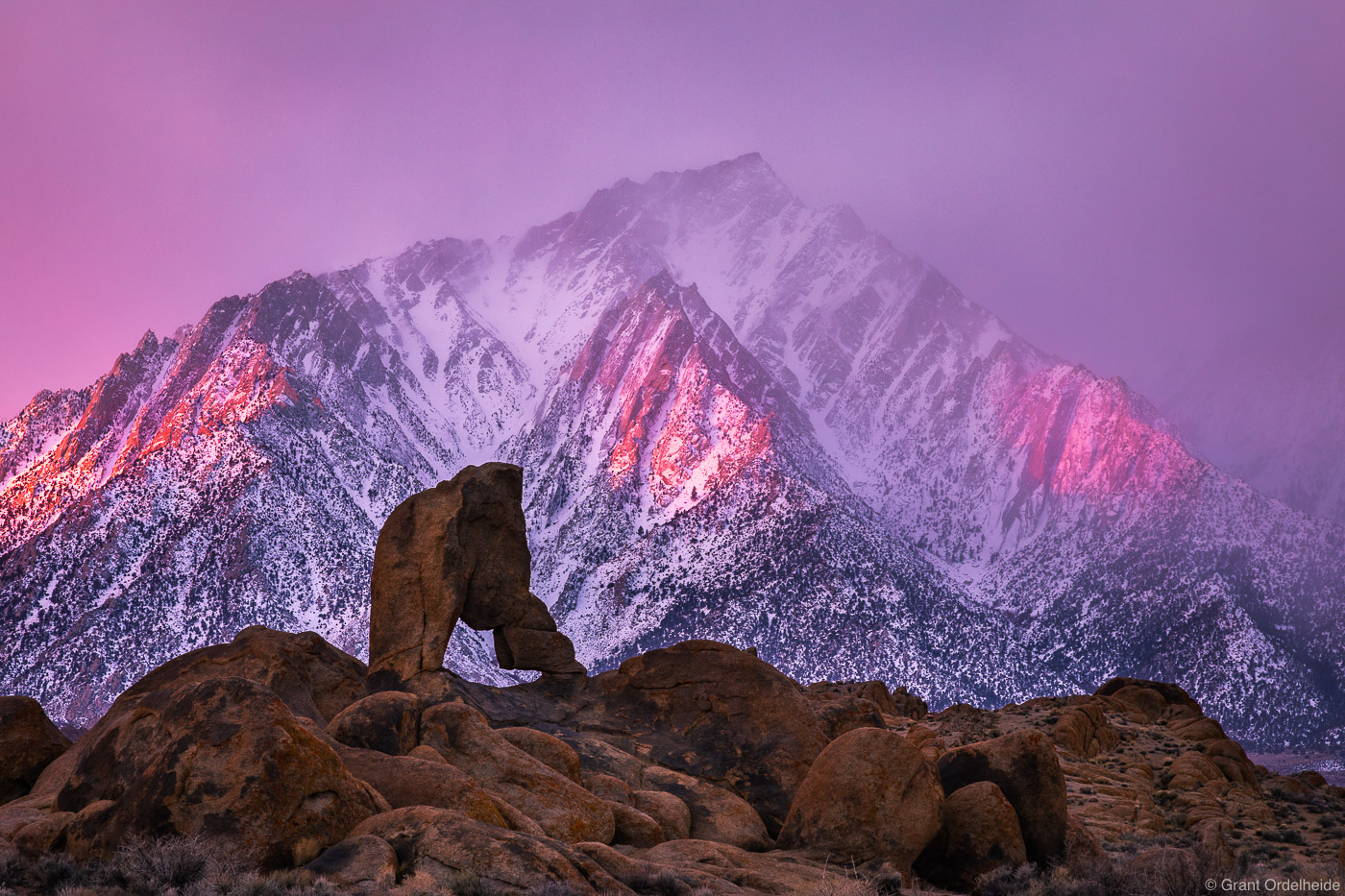 lone pine, peak, california, stormy, sunrise, arch, alabama hills, photo