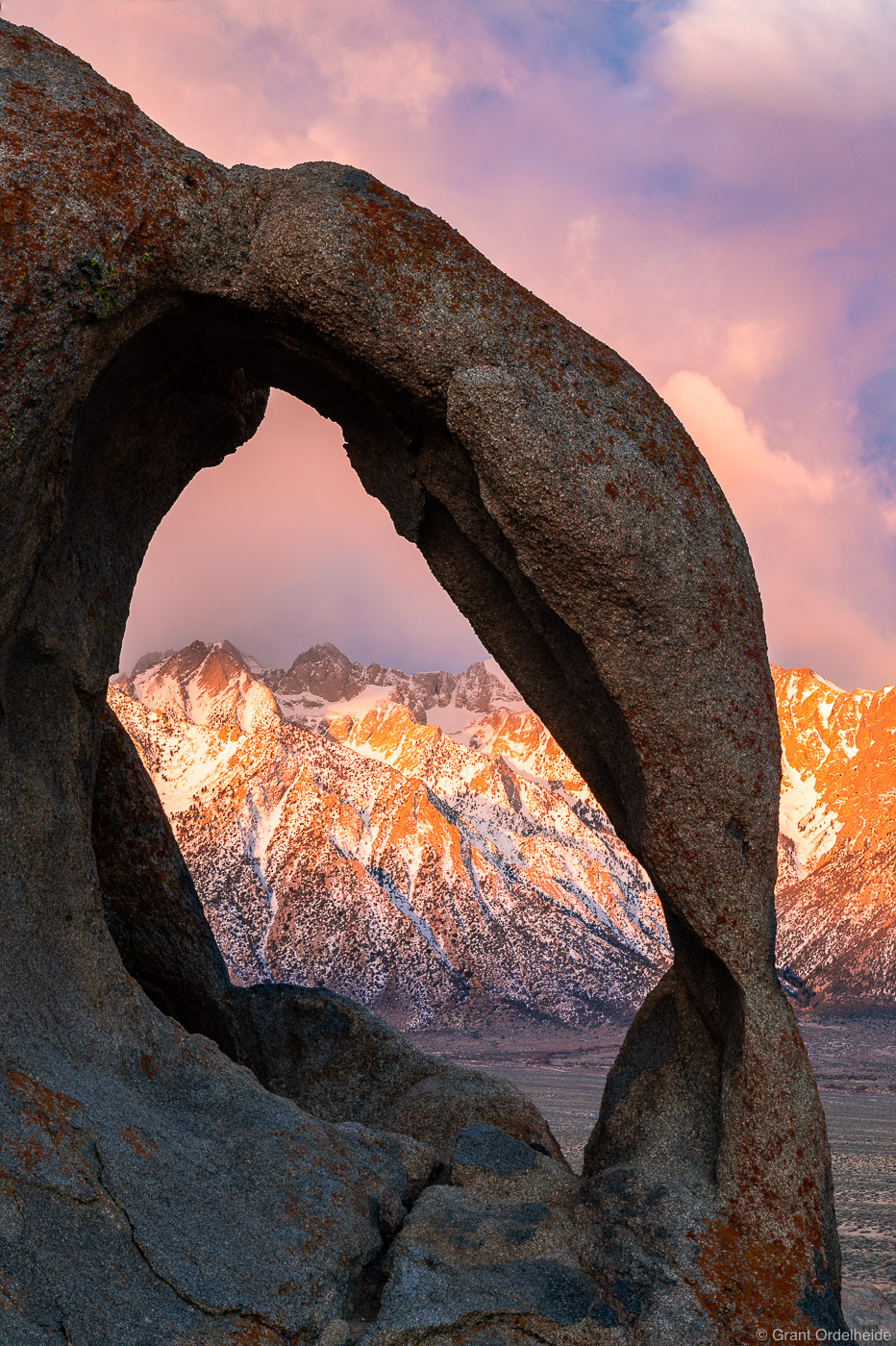 Sunrise over the Eastern Sierra and a remote arch in the Alabama Hills.