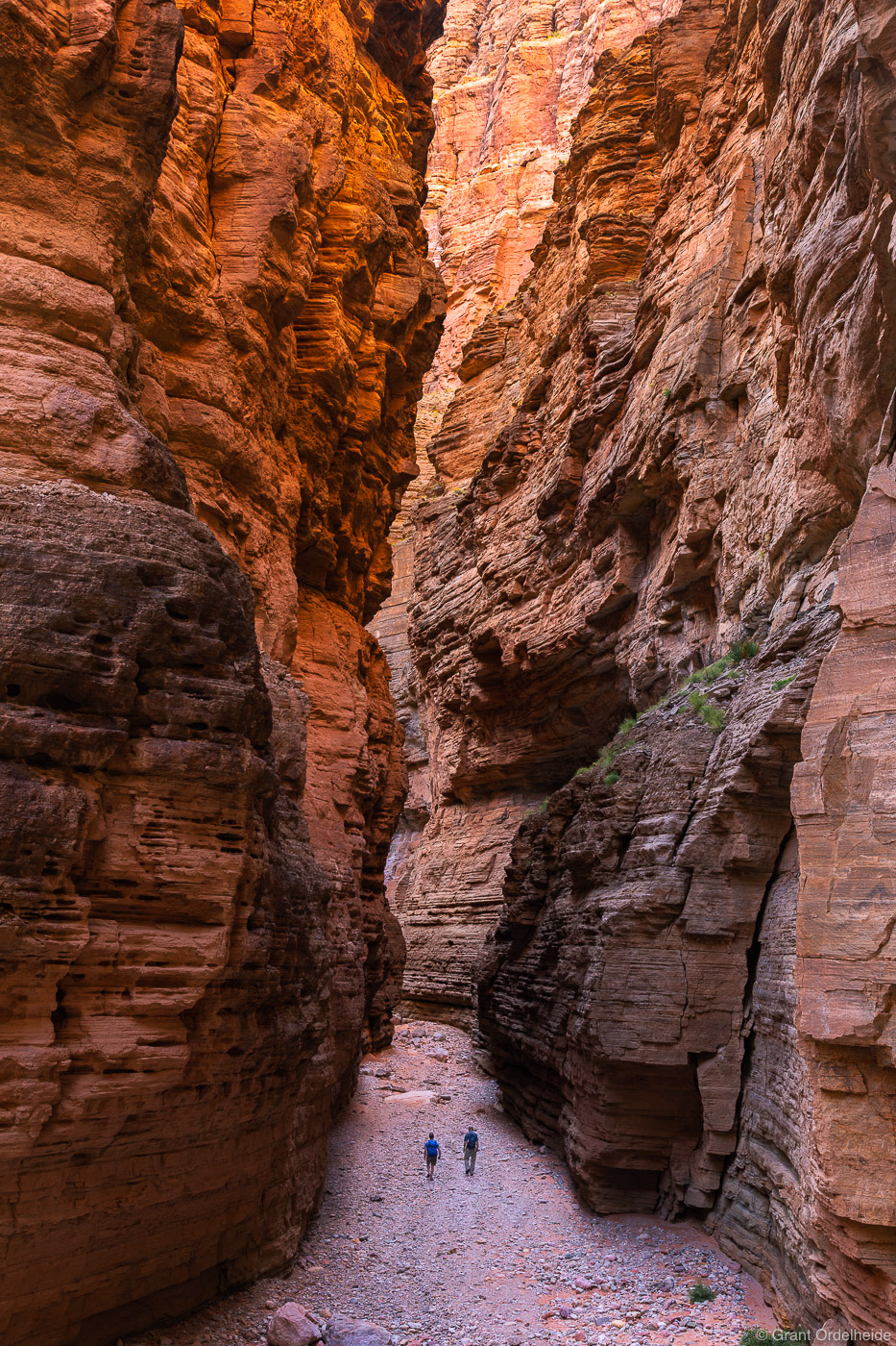 A couple of hikers dwarfed by Fern Glen Canyon, a side canyon of the Grand Canyon.