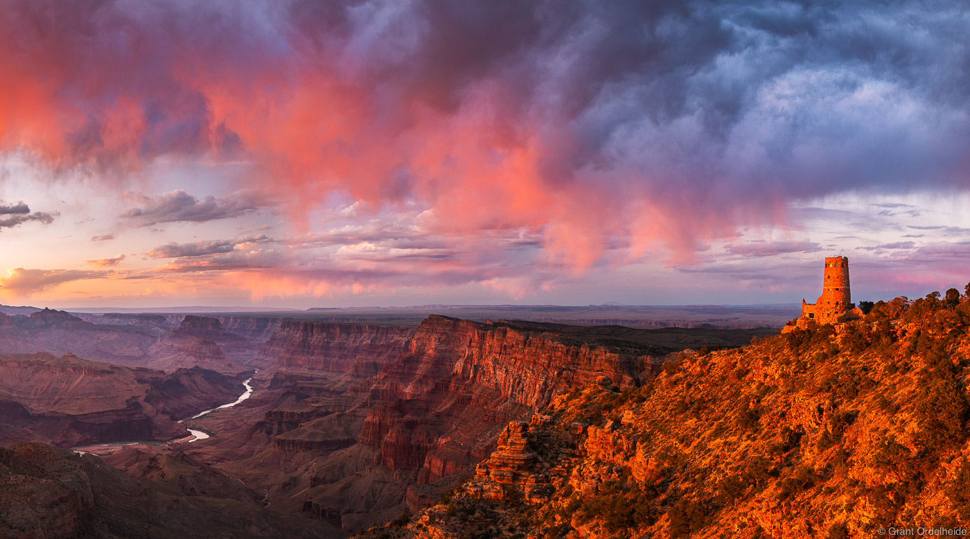 desert, view, grand, canyon, national, park, arizona, pink, sunset, south, rim, photo