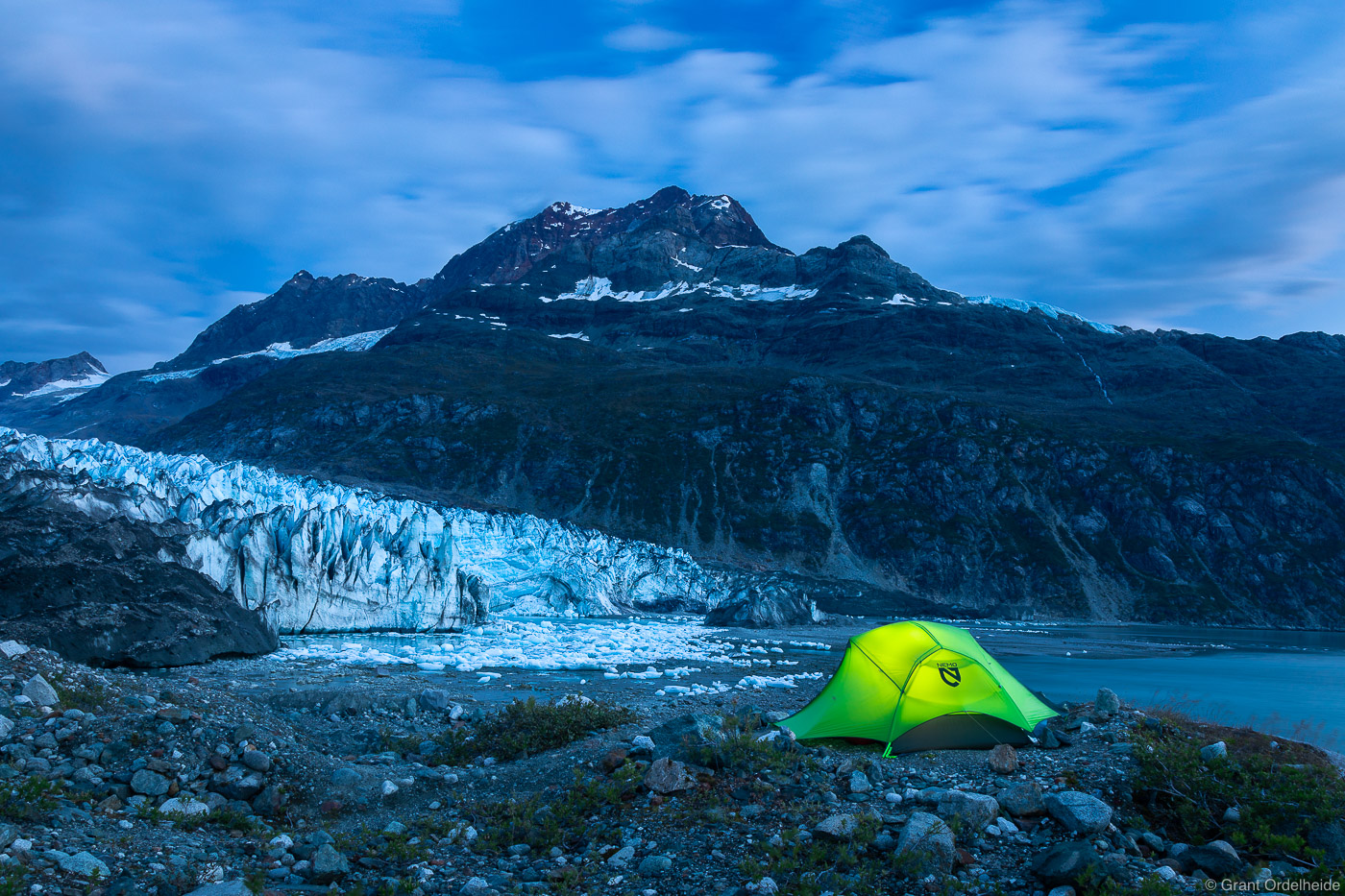 A once in a lifetime campsite in Glacier Bay National Park.