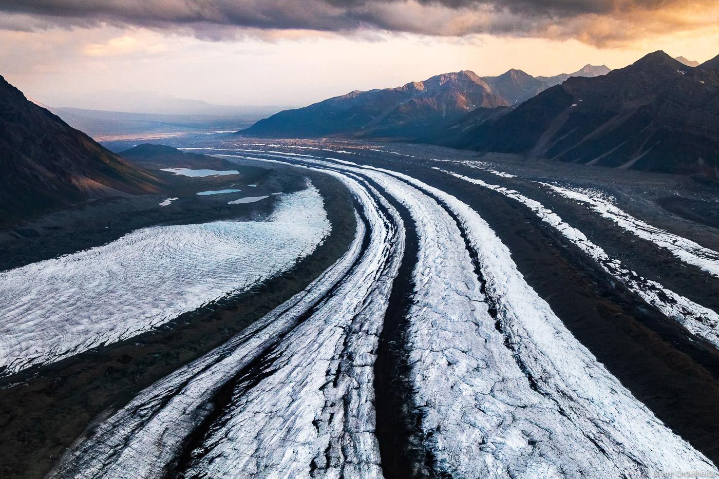 kennicott, glacier, wrangell, st. elias, national, park, alaska, aerial, McCarthy, , photo