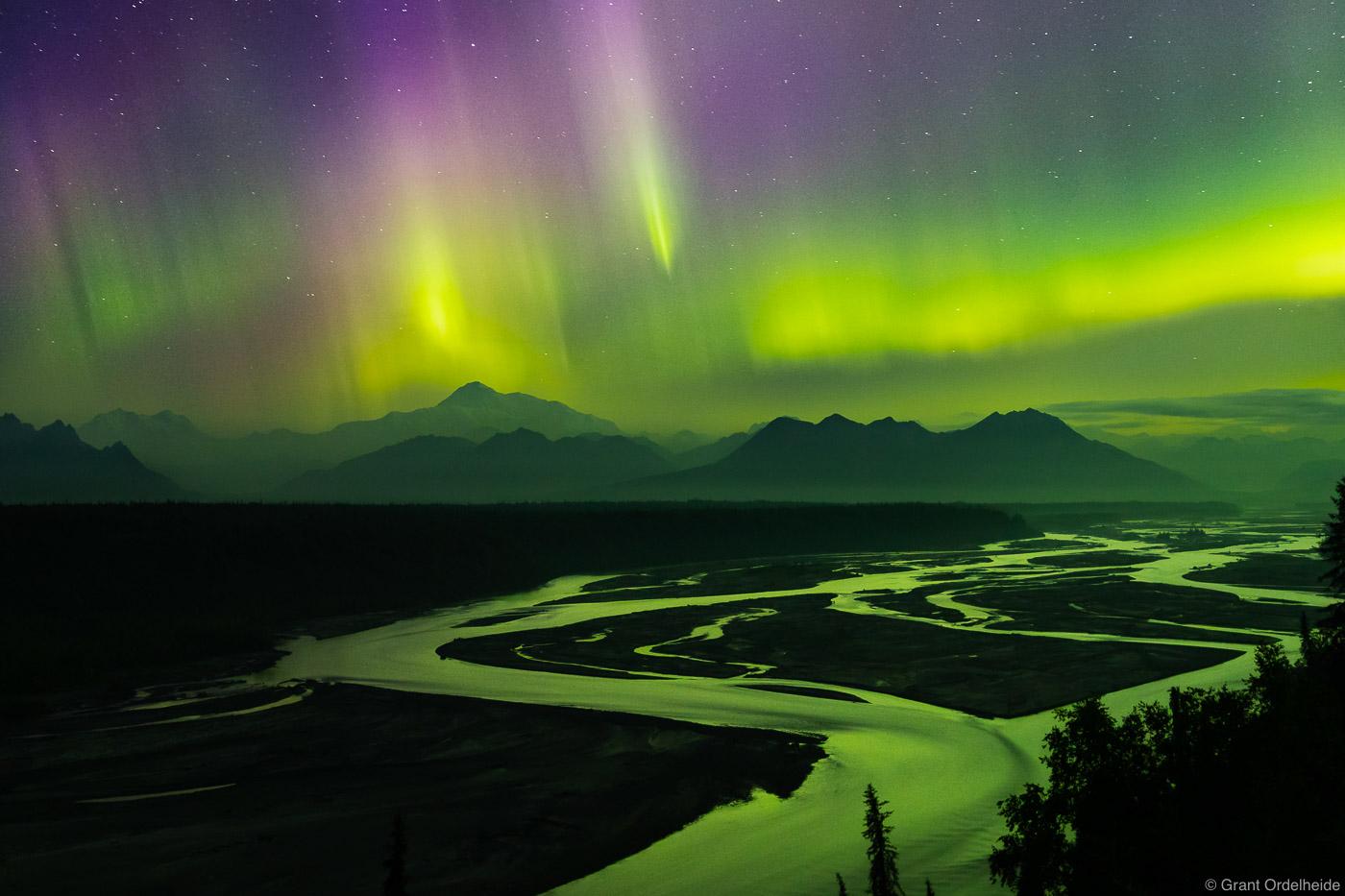 braided, river, aurora, borealis, denali, national park, alaska, north America, highest, peak, photo