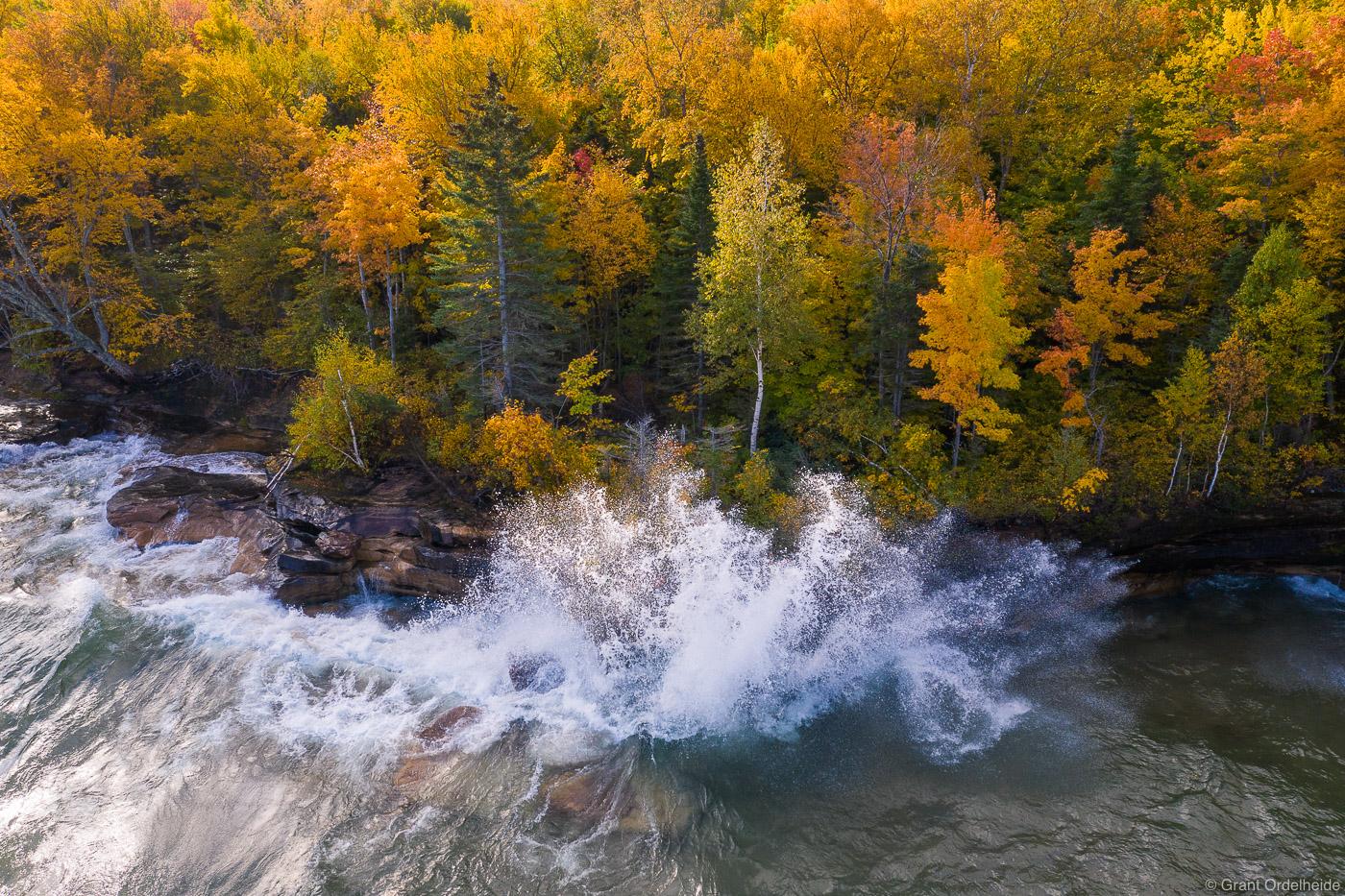 A wave crashing along the shores of Lake Superior on Michigan's Upper Peninsula.