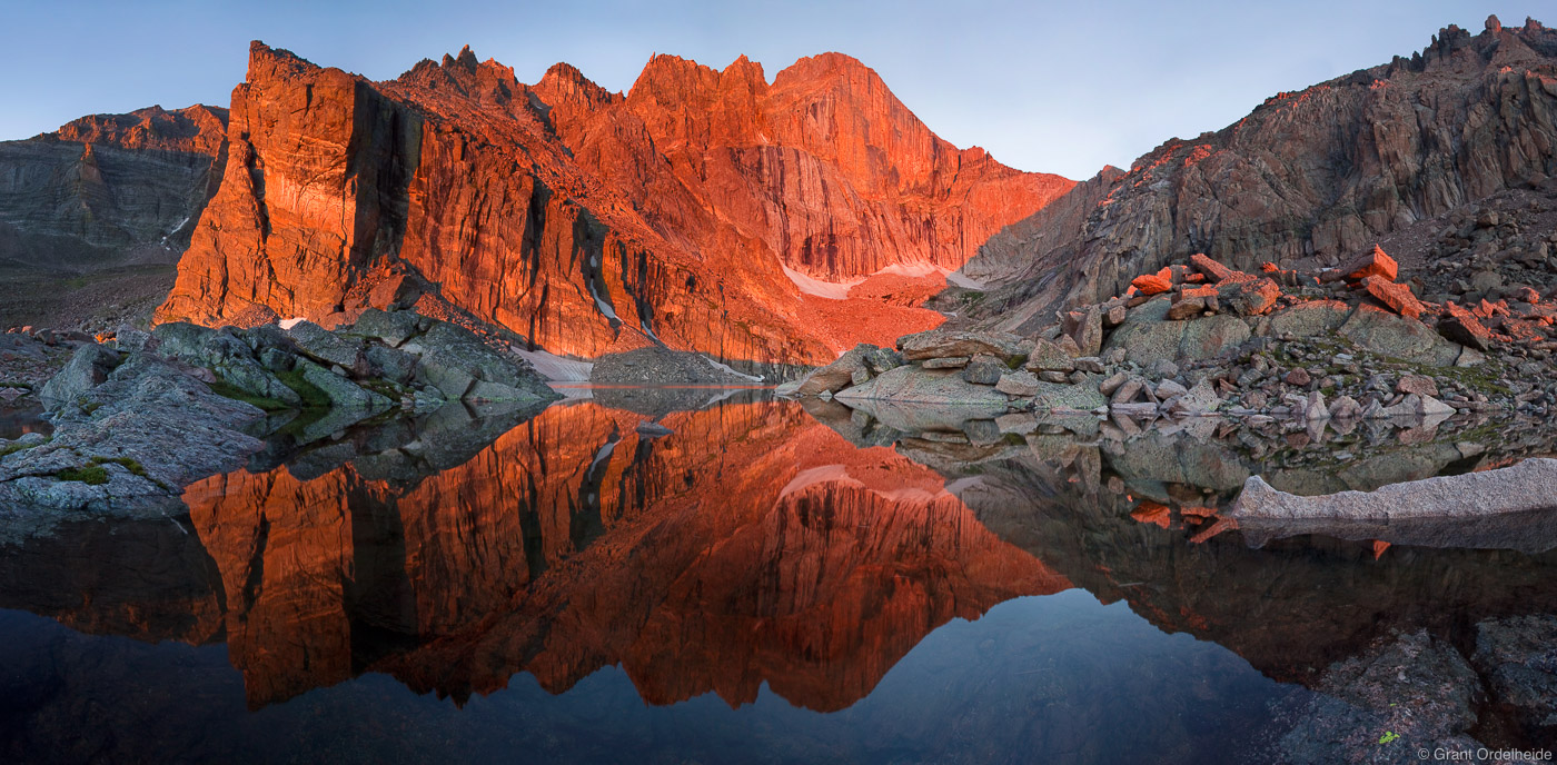 Sunrise over Chasm Lake and Longs Peak in Rocky Mountain National Park.