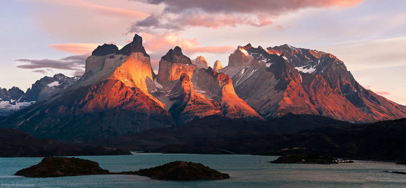 los, cuernos, del, paine, torres, sunrise, panorama, iconic, national, park, chile,