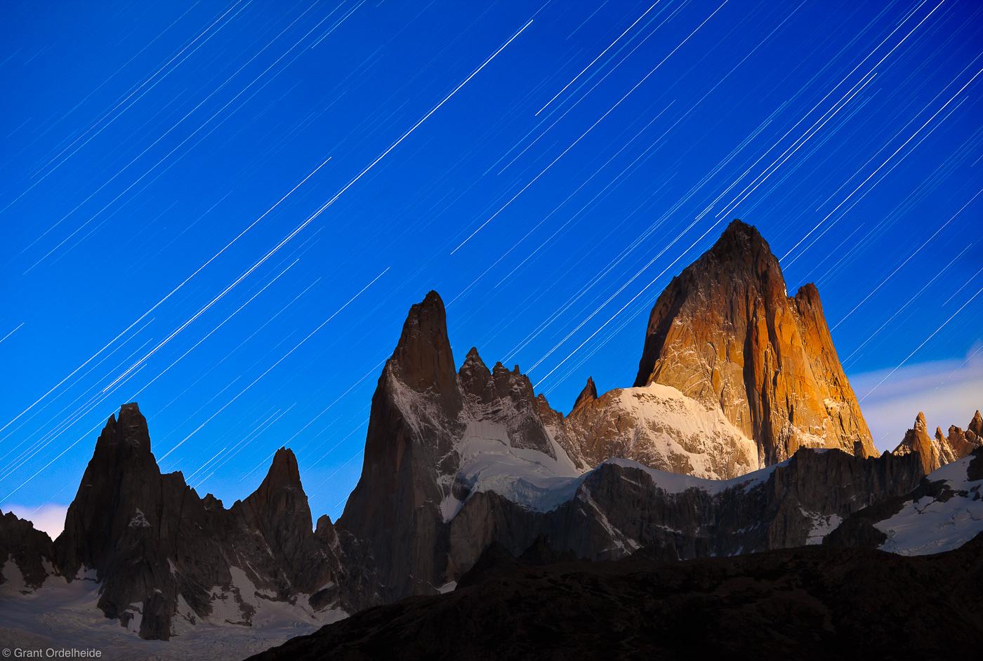 fitzroy, mount, el chalten, argentina, lunar, alpenglow, summit, mountain, south, stars, trails,