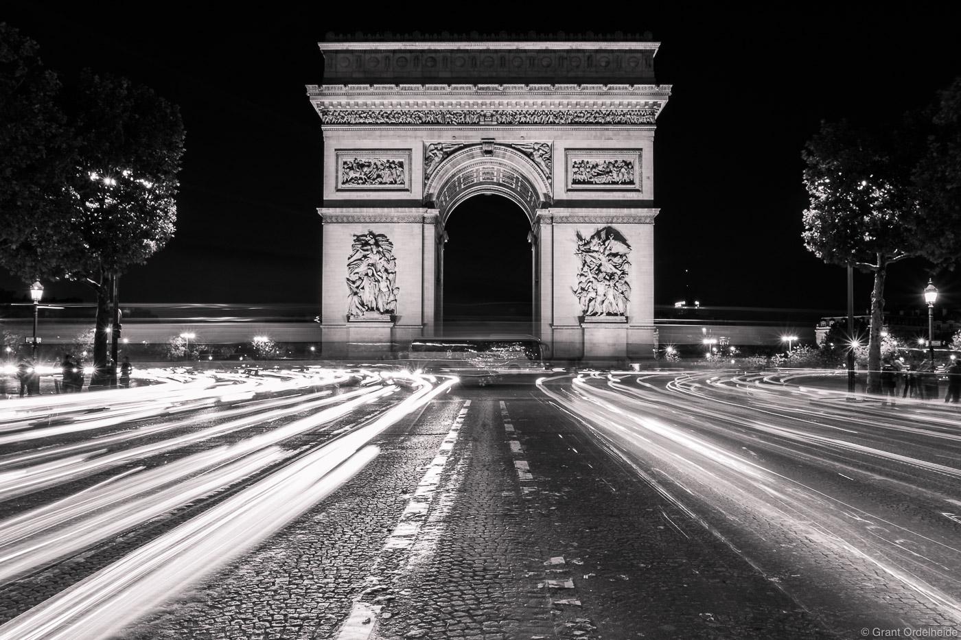 arch de triumph, paris, france, car, lights, famous, arch, photo